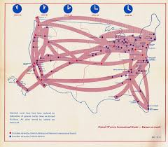 Alaska Air Route Map by Airline Timetables United Airlines October 1975