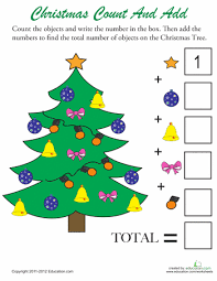 christmas counting 2 worksheets count and christmas tree