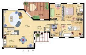 plan maison en u ouvert plan de maison en bois conçu par un architecte avec terrasse et