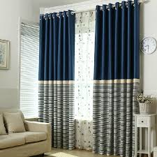 Navy Curtain Simple Navy Polyester Blackout Striped Curtains