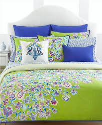 dazzle bedroom with floral pattern blue green comforter and white