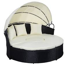In Outdoor Patio Rattan Round Retractable Canopy Daybed - Round outdoor sofa 2