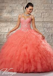 quinceanera dresses coral embroidered and beaded bodice on a ruffled tulle skirt quinceanera