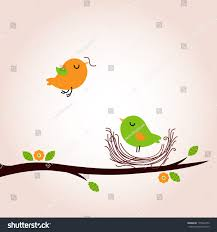 cute spring birds building nest stock vector 173922473 shutterstock
