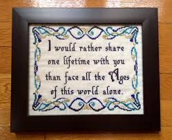 wedding quotes lord of the rings pattern lotr cross stitch arwen quote one lifetime quote