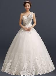 one shoulder wedding dress one shoulder gown clear wedding dress tbdress