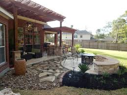 Backyard Grill Area by Pergola Firepit Outdoor Kitchen Heat Up Houston Patio