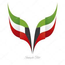 logo ribbon abstract kuwait eagle flag ribbon logo white background stock