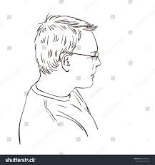 sketch thinking man side view hand stock vector 679516846