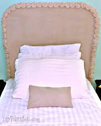 Headboard With Slipcover Easy No Sew Diy Drop Cloth Rosette Headboard Slipcover Thrifty