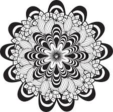 flower ornament in black and white zentangle style stock