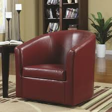 swivel upholstered chairs living room accent swivel chair in red vinyl upholstery by coaster furniture