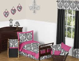 Girls Pink And Black Bedding by Pink Black And White Isabella Girls Toddler Bedding By Sweet