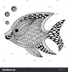 linear decorative fish doodle zentangle stock illustration