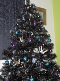 black christmas trees christmas lights decoration