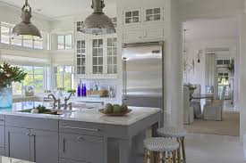 gray kitchen cabinets white marble counters open bright two