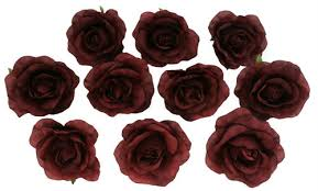 bulk roses 10 burgundy heads silk flower wedding reception table