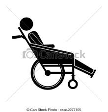 person sitting in reclining wheelchair flat icon vector vector