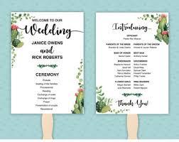 blank wedding program templates succulent program etsy