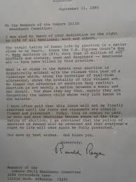 never before seen pro life letter from ronald reagan family council
