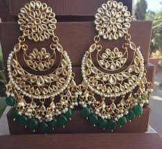 chandbali earrings buy green kundan chandbali earrings online
