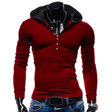 wholesale hooded simple buttons pullover hoodie m red online