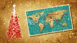 Christmas Map Christmas Tree And Map Of World On The Postcard Retro Style