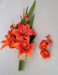 silk bridal bouquets silk wedding flowers orange tiger lilly bouquet set made in
