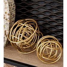 round metal rings images Litton lane round iron metal gold rings orb sculptures set of 2 jpg