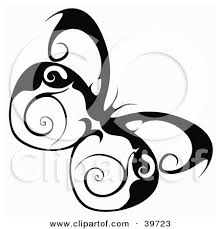clipart illustration of a pretty butterfly with swirl designs on its