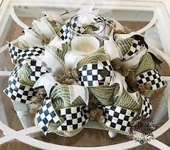 mackenzie childs courtly check ribbon burlap deco mesh centerpiece