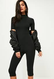 black jumpsuit sleeve black sleeve cropped unitard jumpsuit missguided