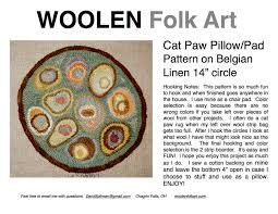 Cats Paw Rug Rug Hooking Pattern Cat Paw 14 Inch Round Chair Pad Pattern