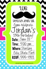 40th birthday ideas mustache birthday invitation template free
