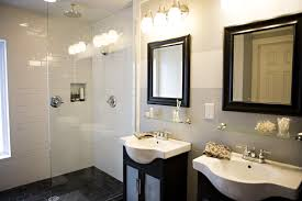 track shaped modern bathroom vanity lights mixed with frameless