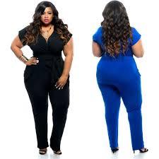 plus size jumpsuit summer fashion sleeve plus size jumpsuit v neck