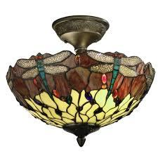 Flush Mount Stained Glass Ceiling Light Springdale Lighting Dragonfly 2 Light Antique Bronze Ceiling Semi