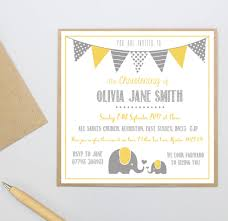 Christening Invitations Cards Personalised Elephant Christening Invitations By Precious Little