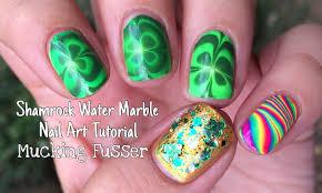 shamrock water marble nail art tutorial youtube