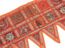 orange window treatment living room indian handmade valance beaded