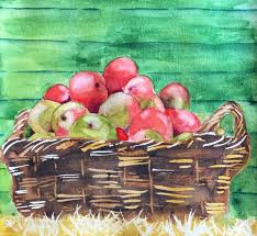 Kitchen Apples Home Decor Basket Of Apples Watercolor Painting Kitchen Home Decor