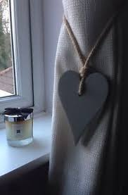 handmade long wooden heart grey shabby chic curtain tie backs with
