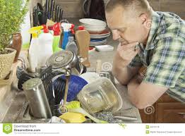 Man Washing Dirty Dishes In The Kitchen Sink Stock Photo Image - Dirty kitchen sink