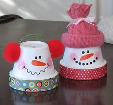 le bonhommes de neige pot en terre cuite 6 modèles noel craft