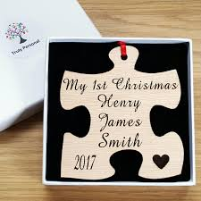 personalised my 1st christmas jigsaw wood tree decoration by truly