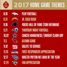 49ers announce themes for 2017 home