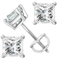 back diamond earrings 2 carat platinum solitaire diamond stud earrings