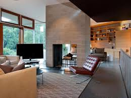Open Seating Living Room Open Fireplace Seating Area Living Wood Shelving Metal Stair