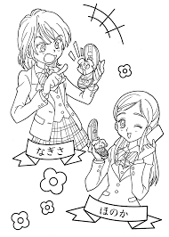 pretty cure funny anime coloring pages kids printable free