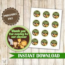 jungle thank you tag green jungle baby shower stickers jungle